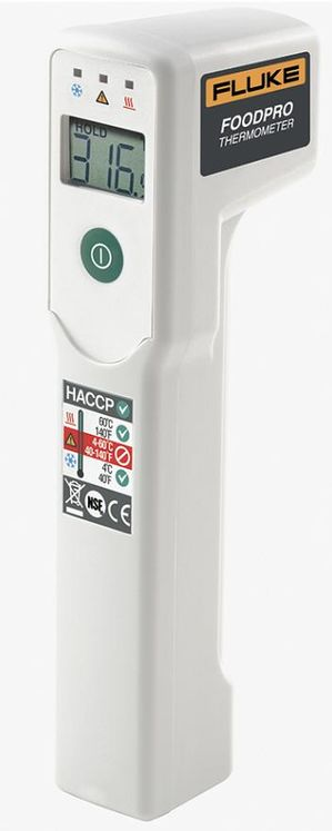 Contactless food safety thermometer, -30 to +200°C
