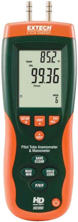 Differential manometer & anemometer/flowmeter with pitot tube