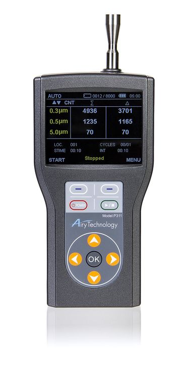 3 channels handheld laser particle counter, 0.3-5um, 4,000,000 particles/ft3, IAQ