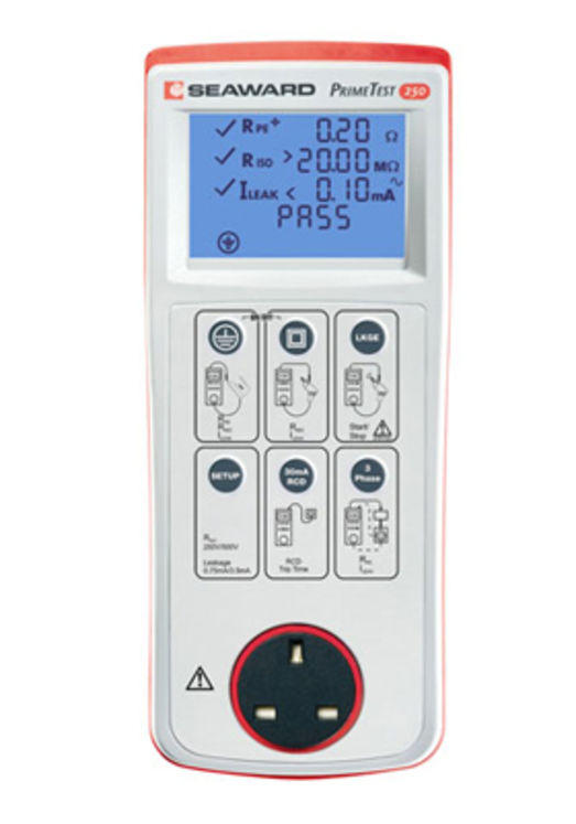 Handheld PAT tester, pass/fail indication (programmable) & display value, RCD, 250/500V insulation