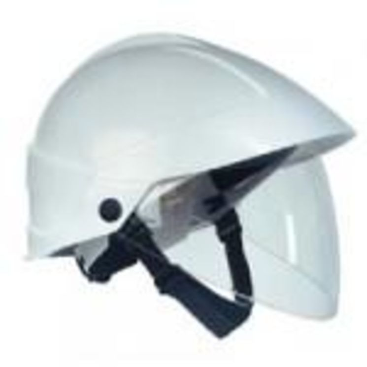 Industrial helmet with integrated facial shield, EN166, EN170, EN397