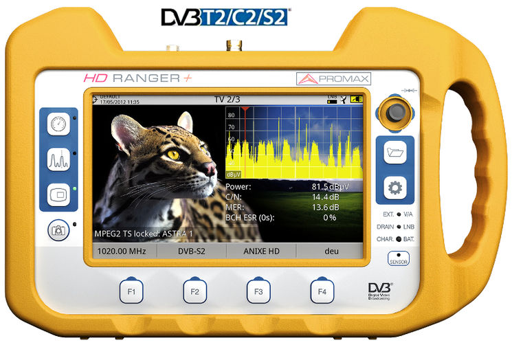 "HD TV field strength meter, DVB-T/T2, DVB-C/C2, DVB-S/S2, HD pictures, DD+, triple 7"" display"