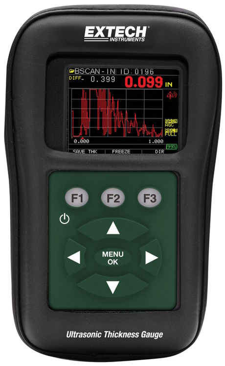 Ultrasonic steel thickness gauge with datalogger & color waveform, 0.5/1 to 508mm