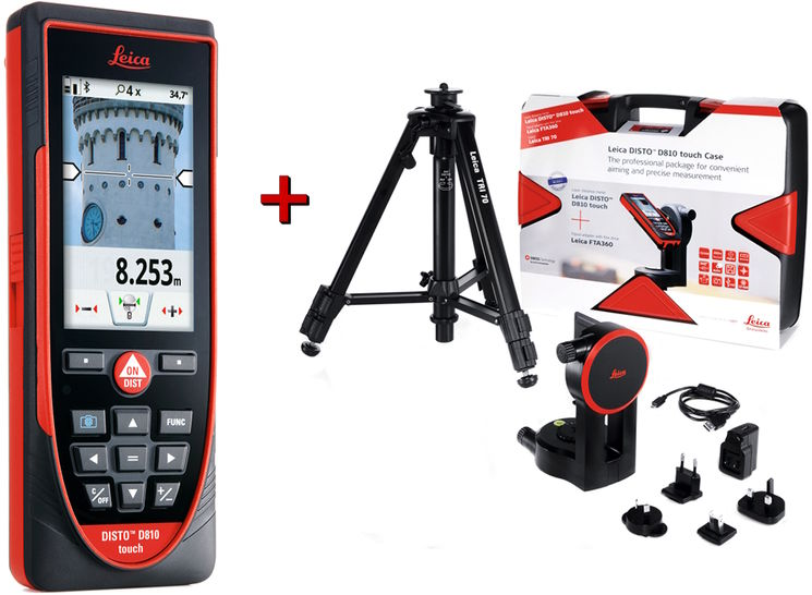 Kit D810 -Distancemeter with touch-screen, bluetooth, measurement on picture- FTA360 and TRI70