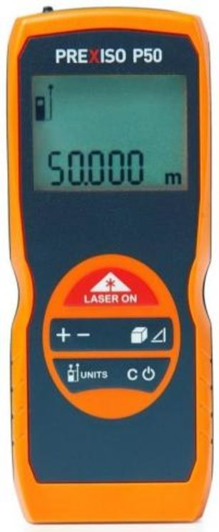 Hanheld lasermeter, 50m max., +-2mm, measure area, volume, pythagore
