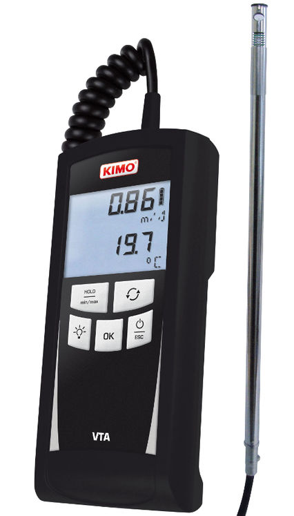 Thermo-anemometer with hotwire sensor 0.15-30 m/s, -20-+80°C, 2 lines display
