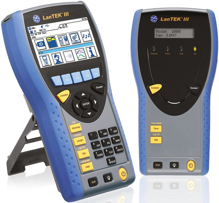 Copper & optic fiber certifier, 500MHz, up to cat 6a / EA class, wireless reports