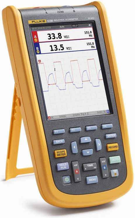 Handheld oscilloscope, color display, 2ch, 20MHz, 750Vrms, Fluke connect