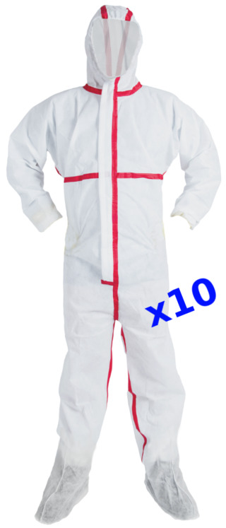 Set of 10 asbestos hooded coats with overboots, Category 3 Type 5 & 6, EN13034 EN13982-1