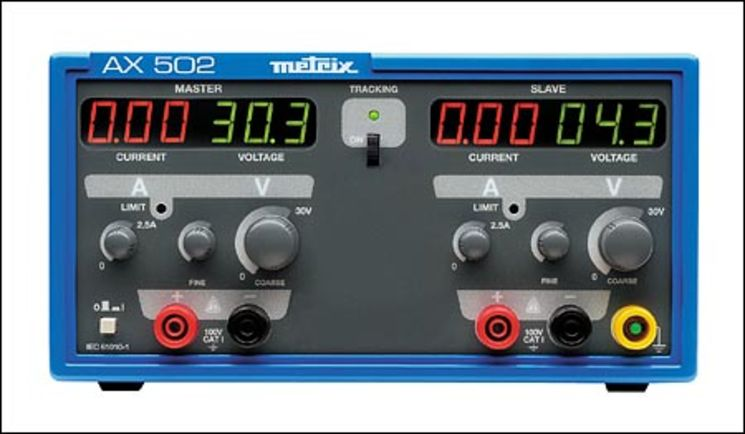 Double linear laboratory power supply 150 W; 2X 30V/2.5A