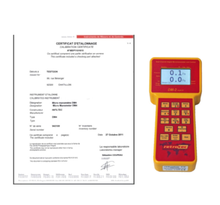 calibration certificate for DM2 or DM32