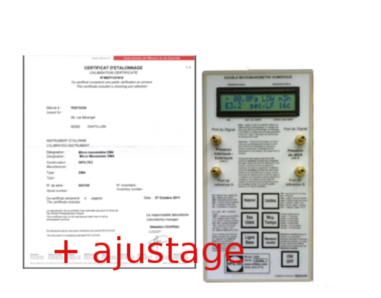 DM4 UKAS accredited differential pressure calibration/adjustment with Pre and post certificates