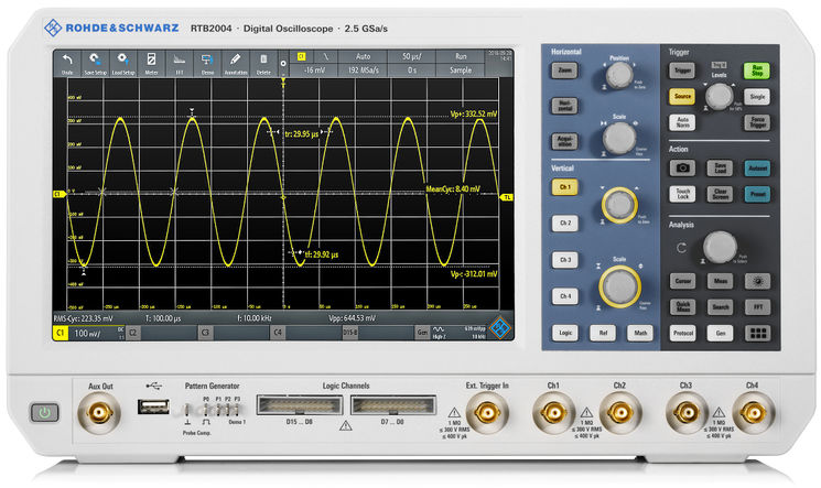 "10-in-1 4ch oscilloscope, 10bit, 10-20Mpts, 10.1"", 70MHz (upgradeable up to 300MHz)"