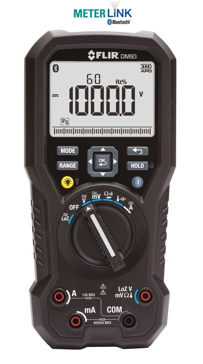 TRMS industrial multimeter with VFD mode, integrated flashlight and Bluetooth MeterLink