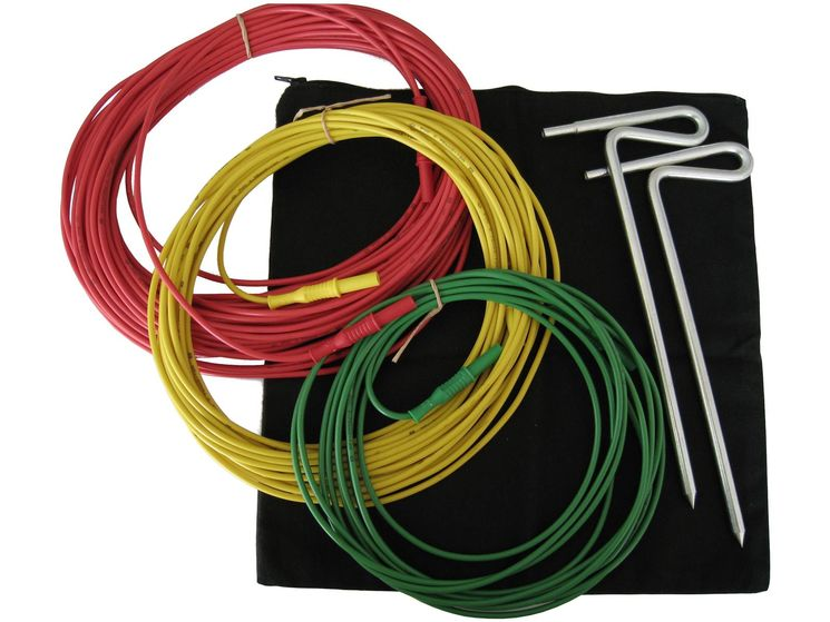 Earth rods & continuity test basic kit (cables 5, 10, 20m)