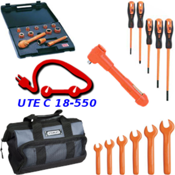 Tool kit for Hybrid & electrical cars, UTE C 18-550 - with torque wrench