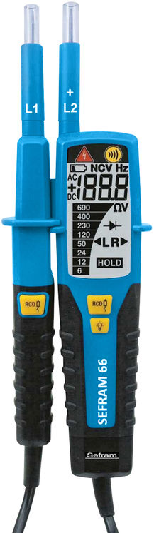 VAT AC/DC Voltage 1000/1500 V & continuity tester, LCD display, IP2X, NF/UTE C 18-510 compliant